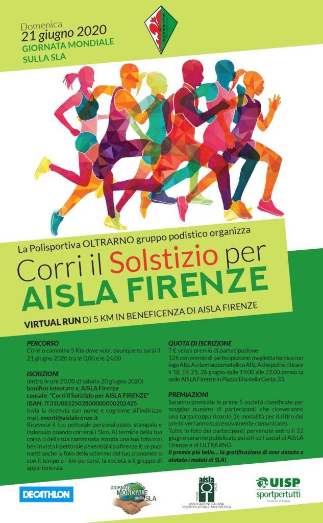Corri il Solstizio, una virtual run per Aisla Firenze